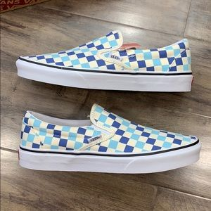 Vans Classic Slip-On Checkerboard Blue Topaz men's